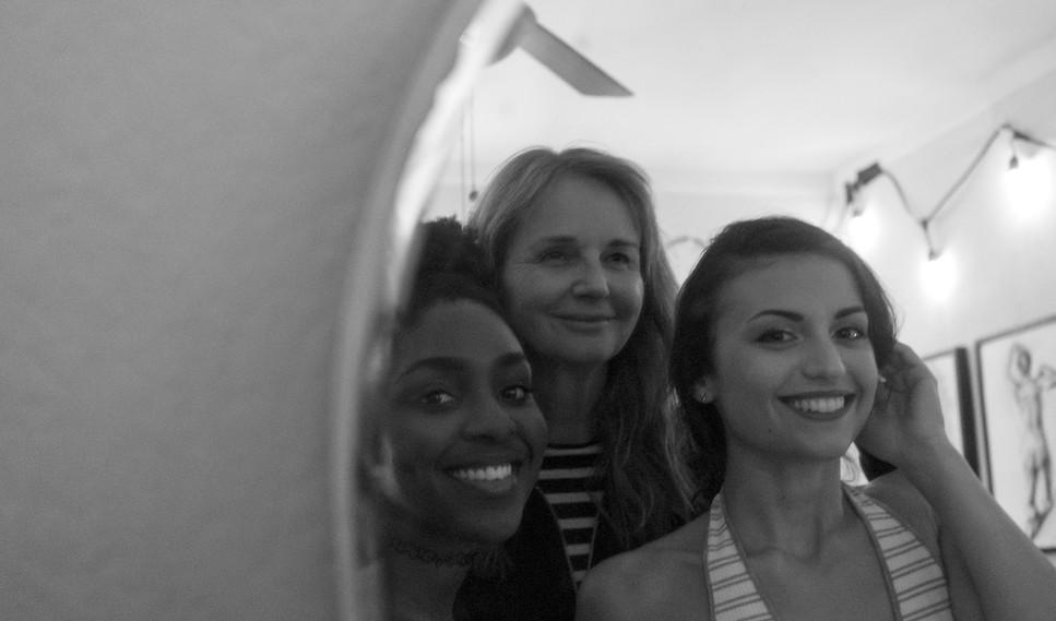 "Director Svetlana Cvetko with MUA and Actor Karen Obilom & Actor Cristina Rambaldi on set of ""Show Me What You Got"" - photo by Gianluca Sansevrino"