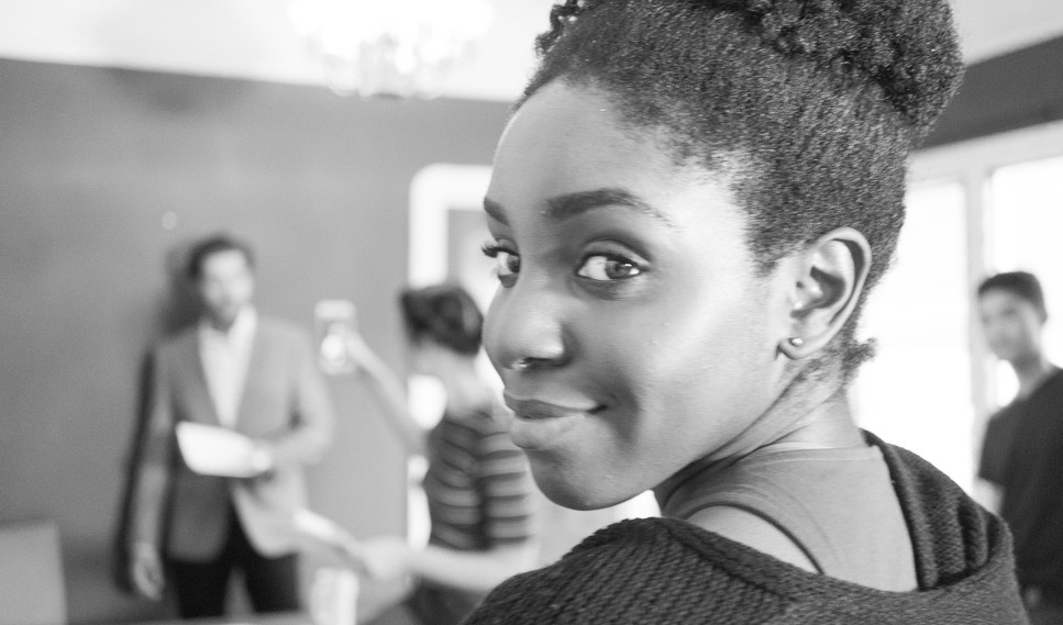 """Karen Obilom, Makeup Artist and Actor, on set during production of """"Show Me What You Got"""" - photo by Gianluca Sansevrino"""