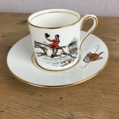 Vintage Aynsley Hunting Scene Coffee Can & Saucer