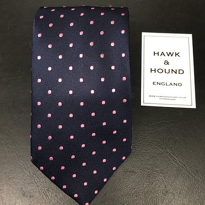 SILK NAVY BLUE WITH PINK SPOTS TIE