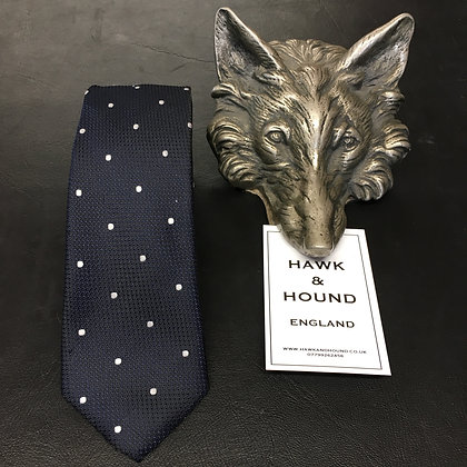 NAVY TIE WITH WHITE SPOTS