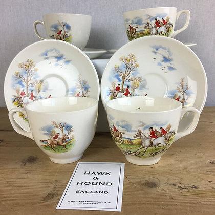 Set of 4 vintage hunting scene cups & saucers