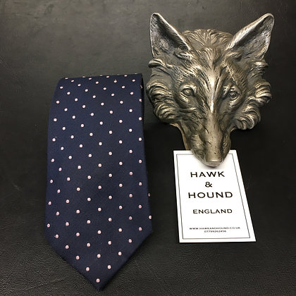 NAVY TIE WITH PALE PINK SPOTS