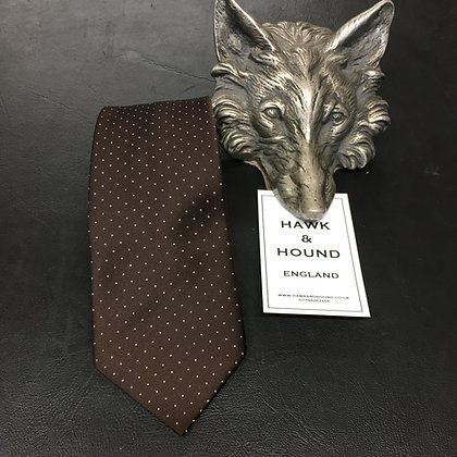 BROWN TIE WITH WHITE SPOTS