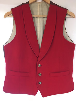 Red Doeskin Waistcoat with lapels  36'