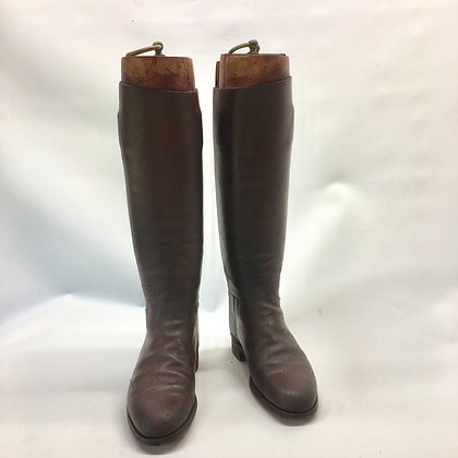 Size 7, bespoke, wide brown boots with trees