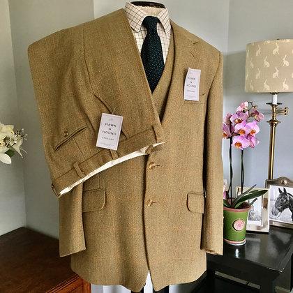 "44"" John G Hardy ""Alsport"" 3 piece tweed suit  44"" chest,  34""W/ 29""L"