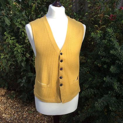 "Vintage Pure Wool Mustard Waistcoat 36"""