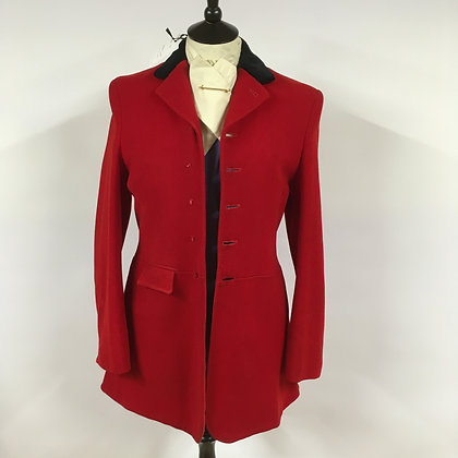 5 Button Red Coat Black/Green Collar 36""