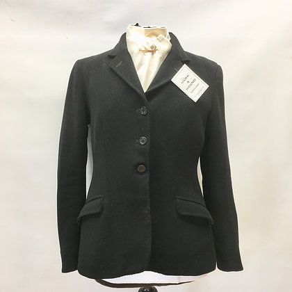 Vintage bespoke ladies black coat 36""