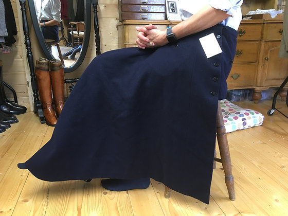 "Navy Frank Hall Side Saddle Apron 24-26"" waist"