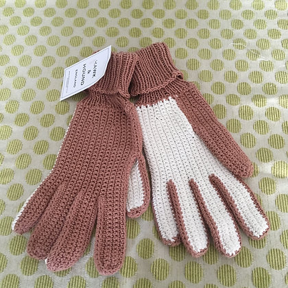 Hand knitted cotton gloves