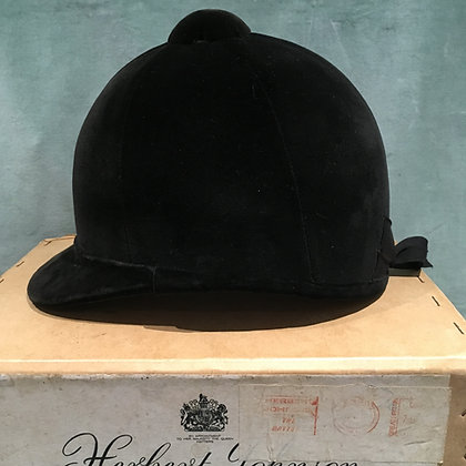 6 7/8 56cm  Black Herbert Johnson hunt cap