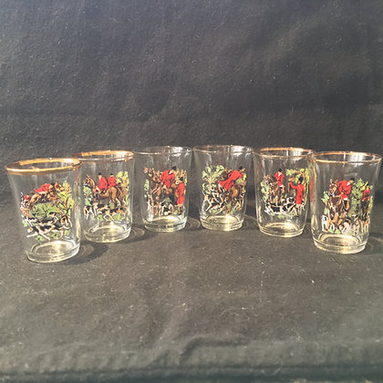 Set of 6 vintage hunting shot glasses