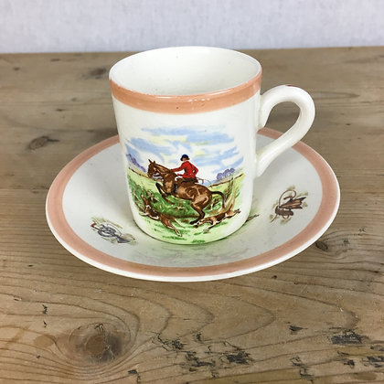 Vintage Hunting Scenes Ambassador Ware Coffee Can and Saucer