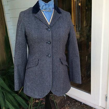 "Blue/Grey Tweed with blue velvet collar 34"""