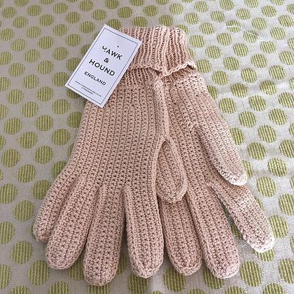 Hand Knitted Beige Cotton Gloves