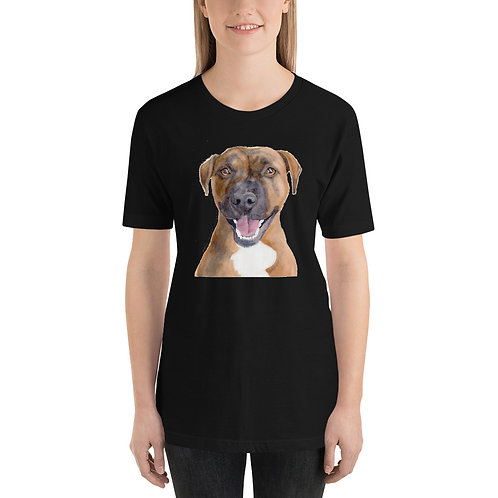 Pit Bull Watercolor Painting on Short-Sleeve Unisex T-Shirt