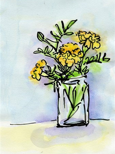 Wild Marigold Flowers in a Simple Vase