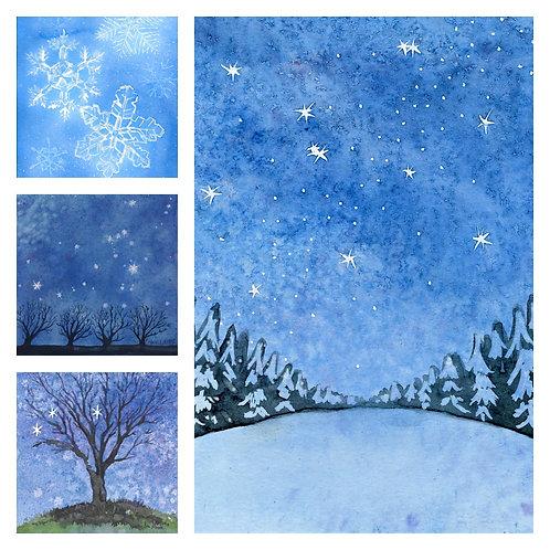 Blue Winter Watercolor  (8) Card Set ByArtist Nancy Ann Moore