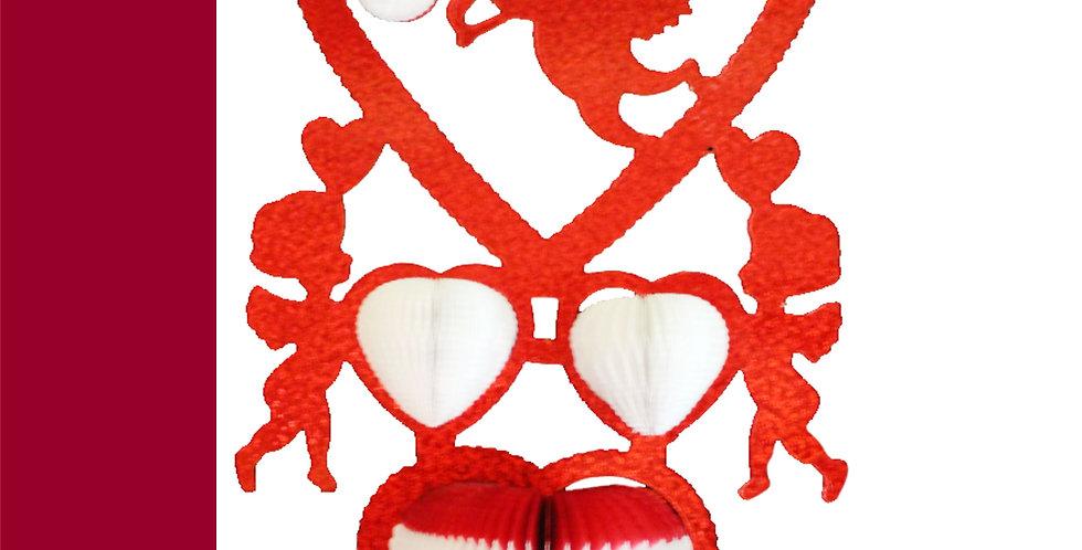Cupido con corazones metálico