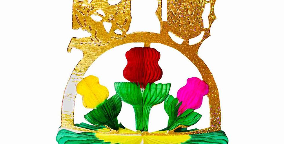 Canasta con rosas metálica