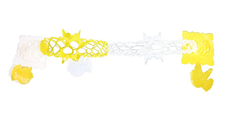 Guía sencilla de plástico amarilla con blanco