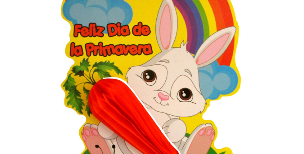 Conejo con zanahoria y arcoíris