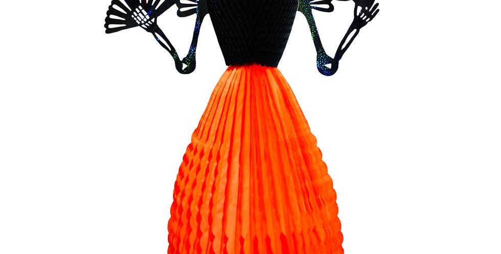 Maria Antonieta - Catrina 120cm de alto - Mandarina