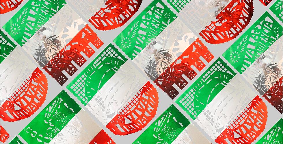 Enramada bandera vertical 1/2 papel metálico