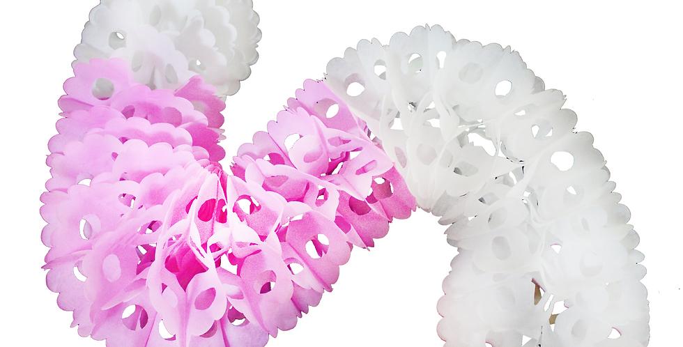 Gusano de papel china blanco con rosa
