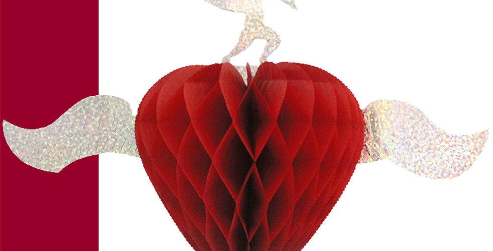 Corazón con alas y cupido