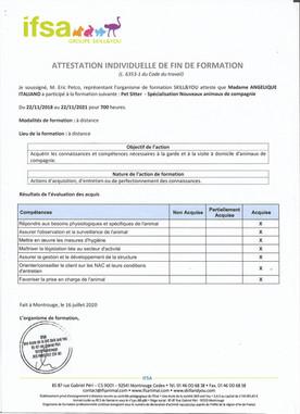 Diplome PetSitter Option NAC