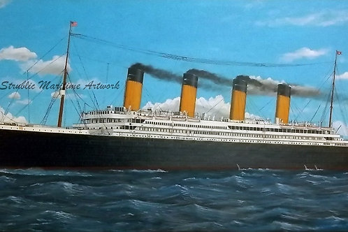 Framed 15 x 30 Acrylic Painting RMS TITANIC