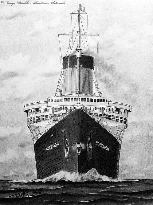 SS Normandie (Bow On)