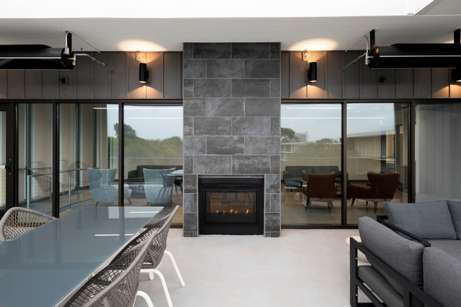 Shared Tenant Sundeck Showing Interior/Exterior Electric Fireplace