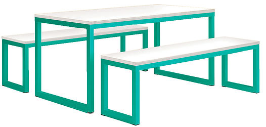 Standard Dining Table And Benches - Turq