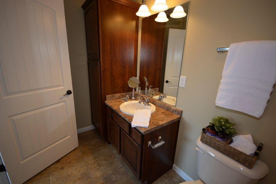Hall bath vanity with linen cabinet