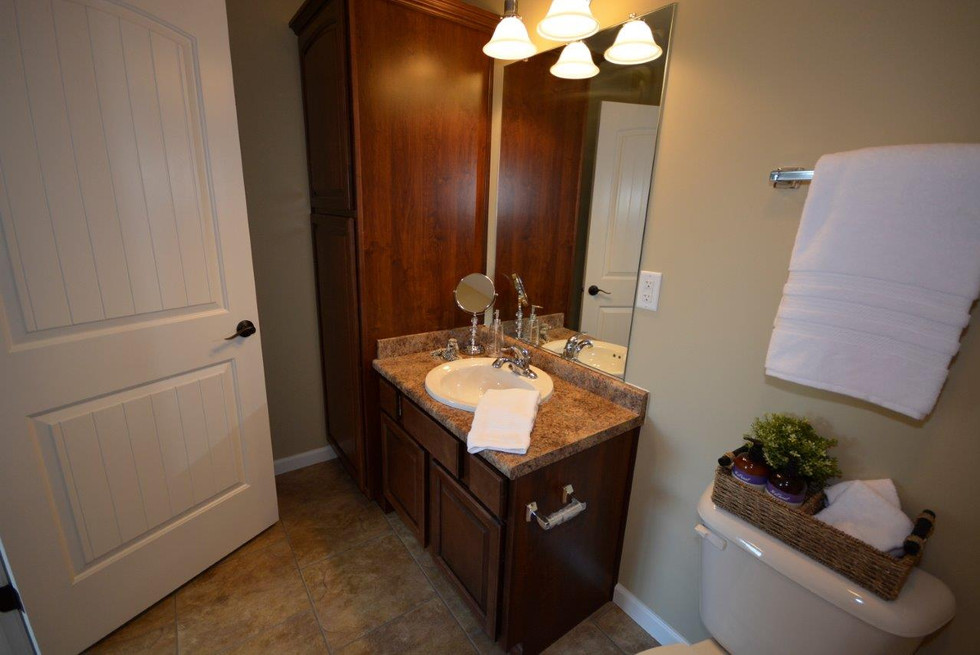 Hall bath vanity with linen cabinet