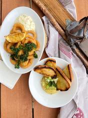 Calamari Rings or Homemade Hummus?