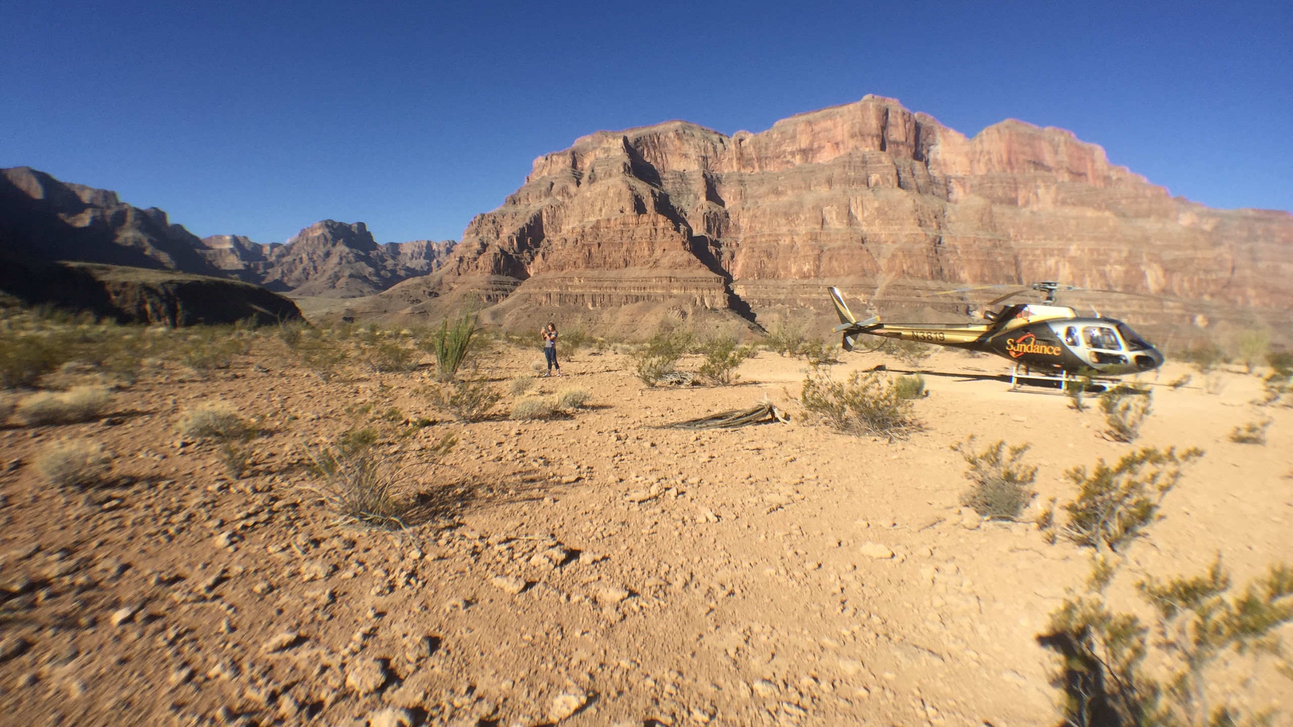 We landed in the Grand Canyon where we had breakfast, including champagne!