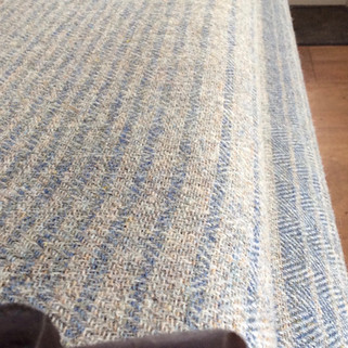 'Ripple Stripe' in 'Atlantic' and 'Duck Egg', The stripe changes width and then the colours reverse. The pattern repeat is just over one metre.
