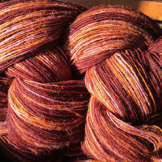 The warp for 'Winter Moor' and 'Winter Sunset, just off of the warping stakes.