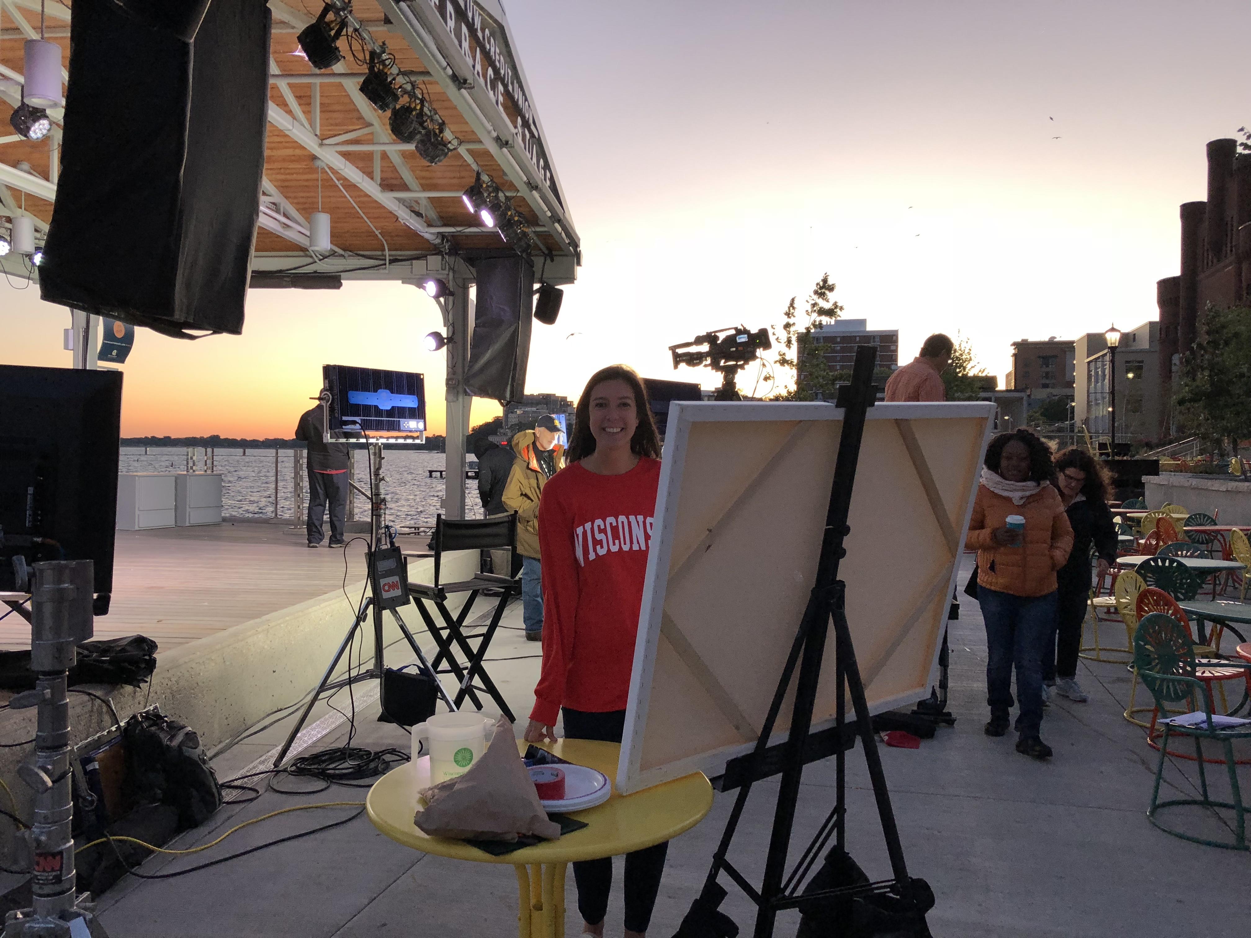 Nicole on set