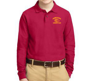 RED YOUTH LONG SLEEVE POLO Y500LS RED
