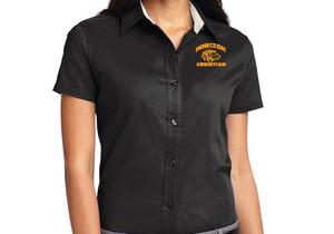 BLACK LADIES SHORT SLEEVE DRESS SHIRT L508 BLK