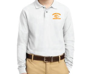 WHITE YOUTH LONG SLEEVE POLO Y500LS WHT