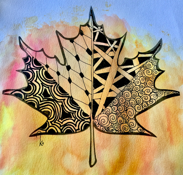 Fall Leaf Zentangle