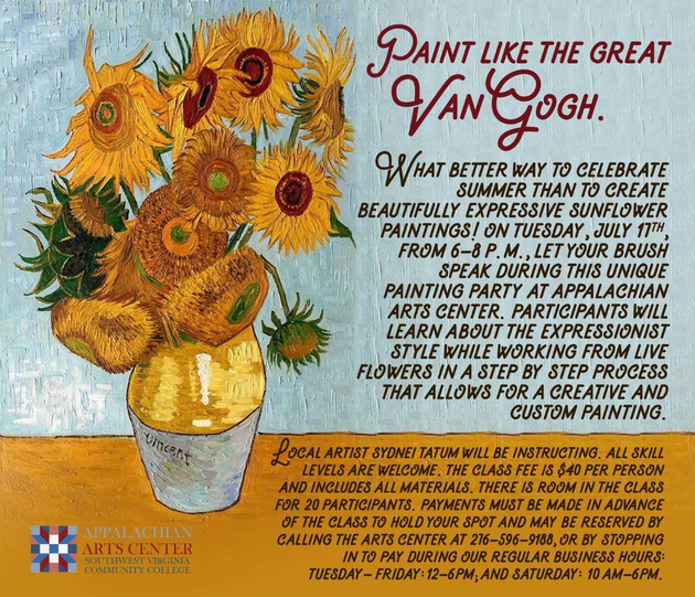 Van Gogh Sunflowers painting party