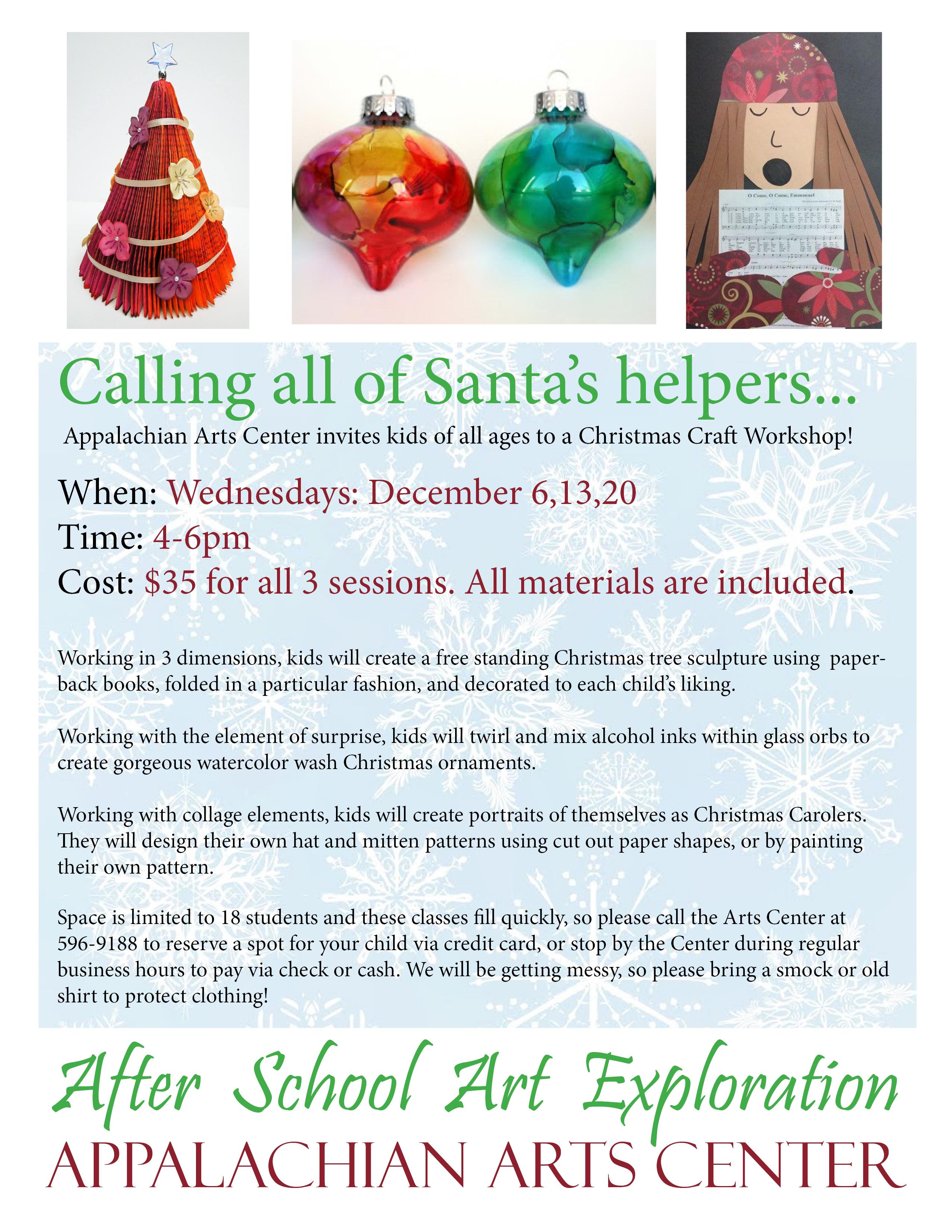 Christmas Craft Workshops For Kids Appalachian Arts Center